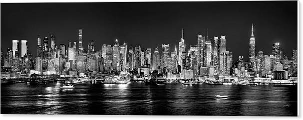 New York City NYC Skyline Midtown Manhattan at Night Black and White by Jon Holiday