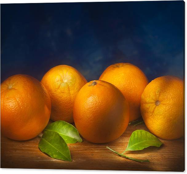 Limited Time Promotion: Five Oranges Stretched Canvas Print