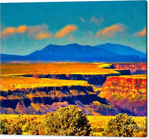 Limited Time Promotion: Rio Grande Gorge Lv Stretched Canvas Print by Charles Muhle