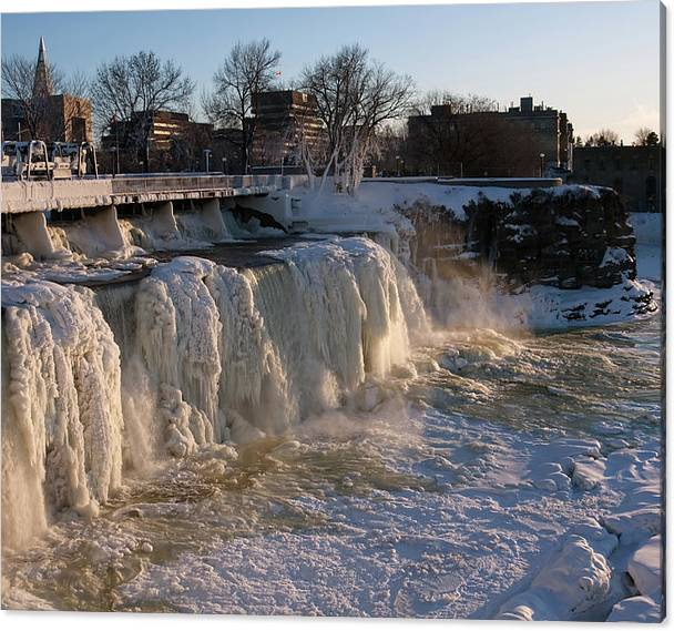 Limited Time Promotion: Frozen Waterfalls Stretched Canvas Print