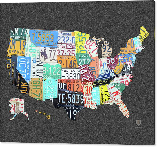 Limited Time Promotion: License Plate Map Of The United States On Gray Felt Large Format Sizing Stretched Canvas Print
