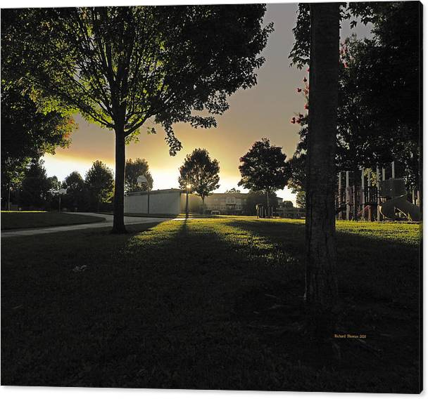 Limited Time Promotion: City Park New Day Stretched Canvas Print by Richard Thomas