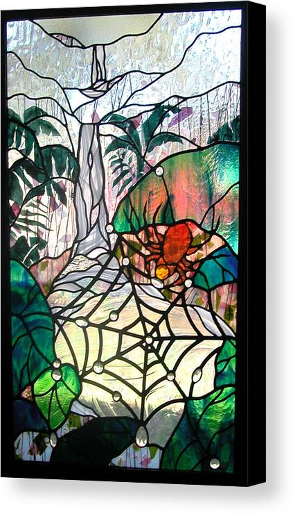 Glass Canvas Print featuring the glass art After The Rain by Christine Alexander