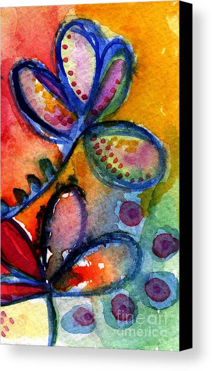 Abstract Canvas Print featuring the painting Bright Abstract Flowers by Linda Woods