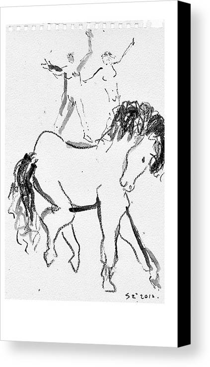 Horses Canvas Print featuring the drawing Horse Sketch by Samuel Zylstra