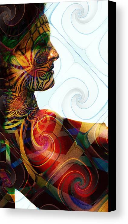 Lady Masquerade Canvas Print featuring the digital art Lady Masquerade by Kiki Art