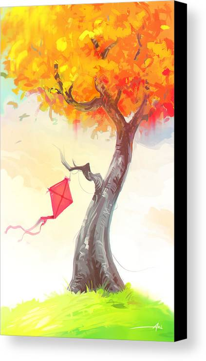 Landscape Canvas Print featuring the painting The Lonely Kite by Aniruddha Lele