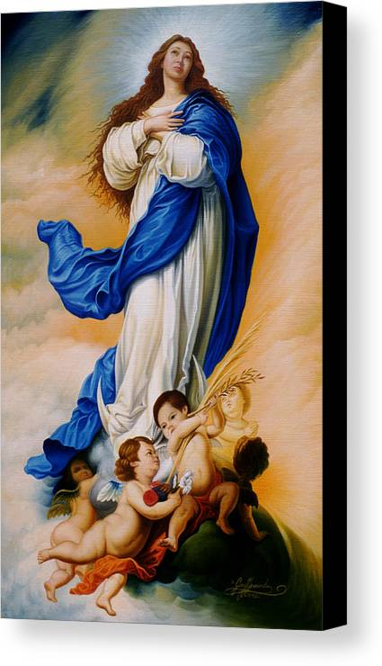 Immaculate Conception Canvas Print featuring the painting Virgin Of The Immaculate Conception After Murillo by Gary Hernandez