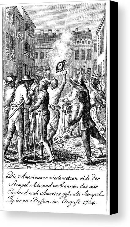1765 Canvas Print featuring the photograph Anti-stamp Act, Boston, 1765 by Granger