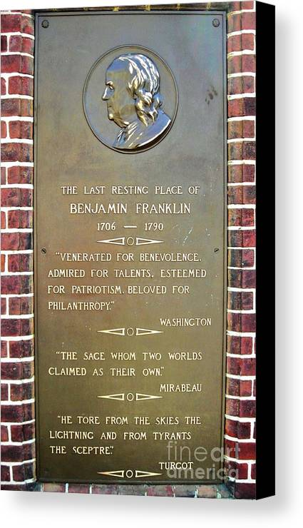 Benjamin Franklin Canvas Print featuring the photograph Benjamin Franklin Marker by Snapshot Studio