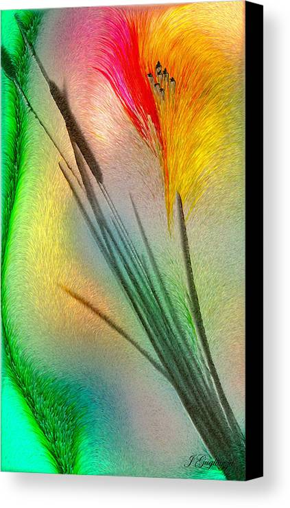 Cattails Canvas Print featuring the digital art Cattails by Jean Gugliuzza