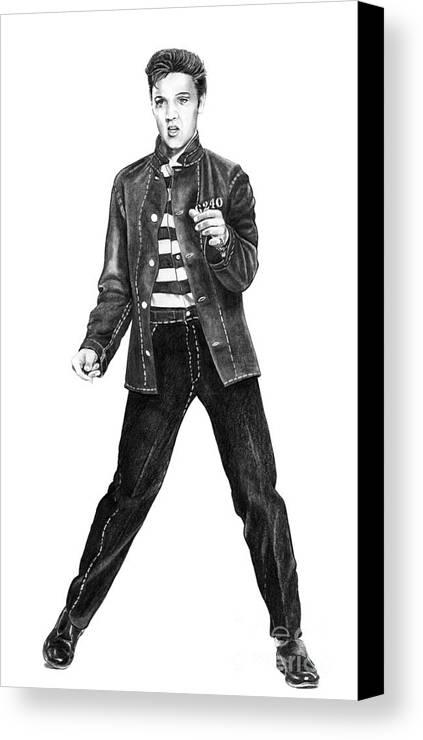 Elvis Canvas Print featuring the drawing Elvis Presley  by Murphy Elliott