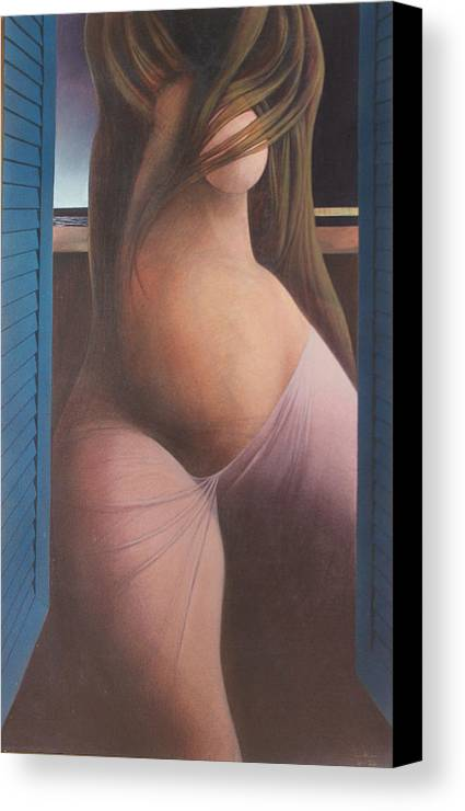 Figure Canvas Print featuring the painting Femme Aux Volets by James LeGros