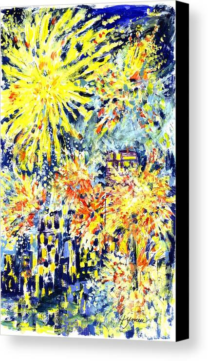 Fireworks Canvas Print featuring the painting Fourth Of July by Lily Hymen