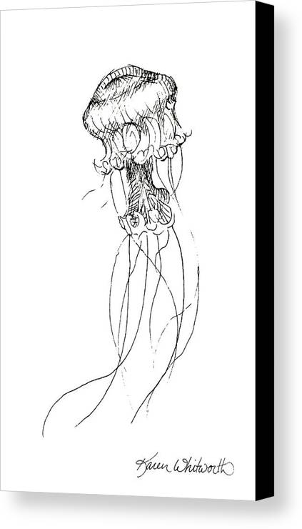 Jellyfish art canvas print featuring the drawing jellyfish sketch black and white nautical theme decor