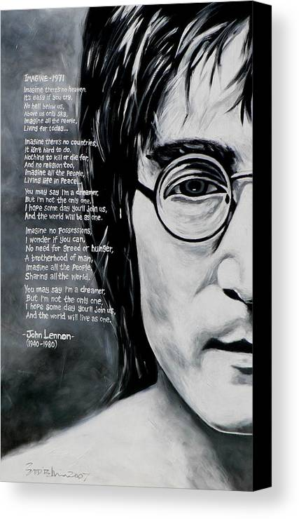 Figurative Canvas Print featuring the painting John Lennon - Imagine by Eddie Lim