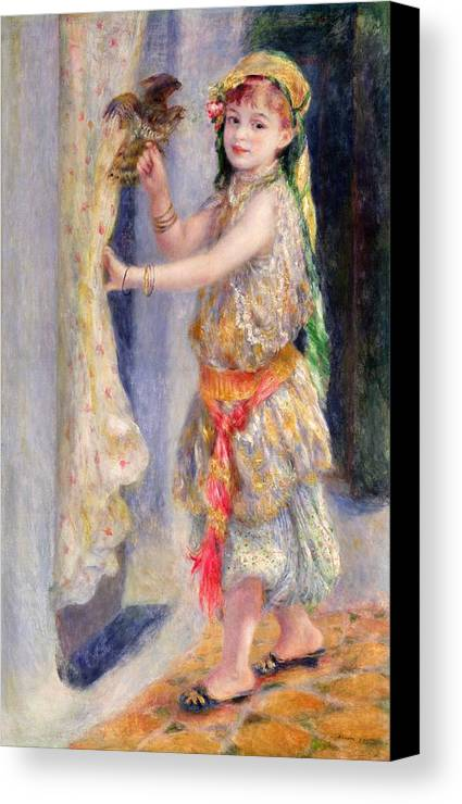 Female; Portrait; Traditional Algerian Costume; Young Girl; Child; Children; Impressionist; Bird; Innocent; Innocence; Fancy Dress Canvas Print featuring the painting Mademoiselle Fleury In Algerian Costume by Pierre Auguste Renoir