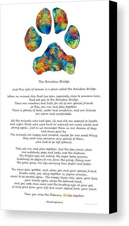 Rainbow Bridge Poem With Colorful Paw Print By Sharon