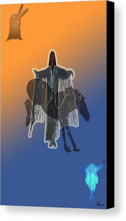 Native Woman Horse Man Buffalo Skull Spiritual Indian Canvas Print featuring the digital art She Danced by Andrea Lawrence