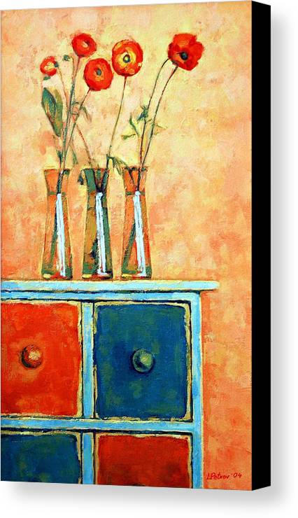 Poppies Canvas Print featuring the painting Still Life With Poppies by Iliyan Bozhanov