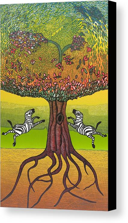 Landscape Canvas Print featuring the mixed media The Life-giving Tree. by Jarle Rosseland