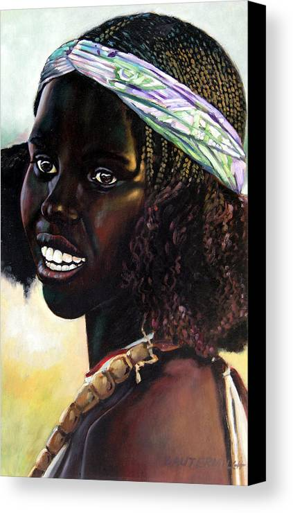 Young Black African Girl Canvas Print featuring the painting Young Black African Girl by John Lautermilch