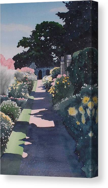 Landscape Canvas Print featuring the painting Autumn Path by Mary Louise Ringers