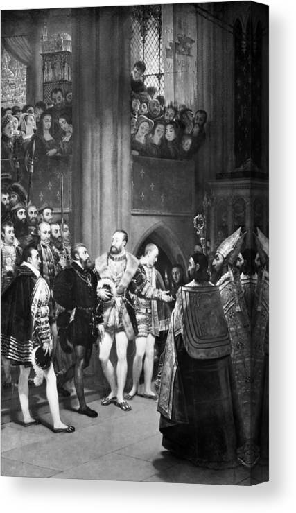 1540 Canvas Print featuring the painting Francis I & Charles V by Granger