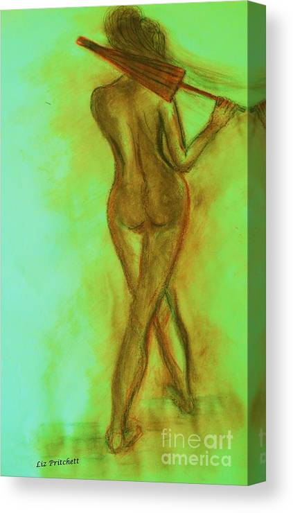 Nude Canvas Print featuring the painting The Emerald Stroll by Liz Pritchett
