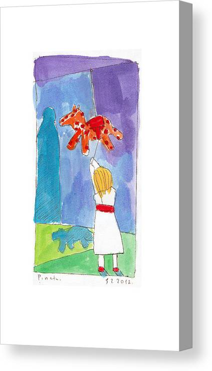 Children Canvas Print featuring the painting Pinyata by Samuel Zylstra