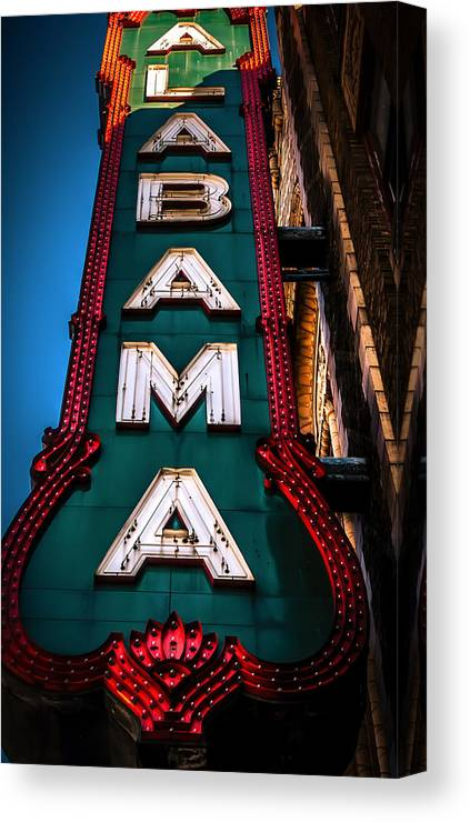 Alabama Theater Canvas Print featuring the photograph Alabama Theater Sign 1 by Phillip Burrow