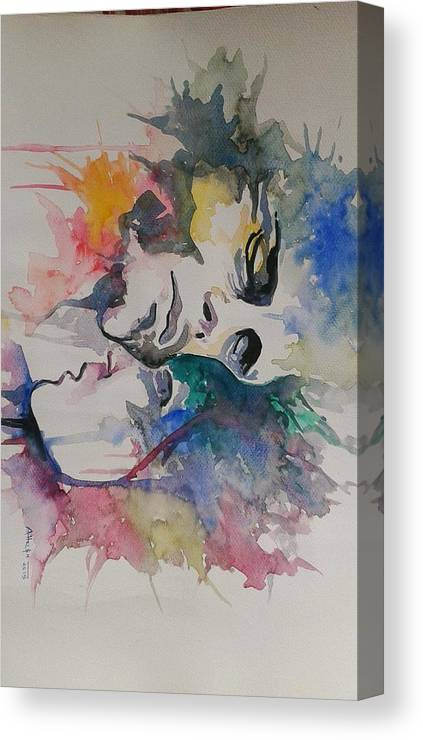 Men And Woman Love Canvas Print featuring the painting Love by Rajesh Gurung
