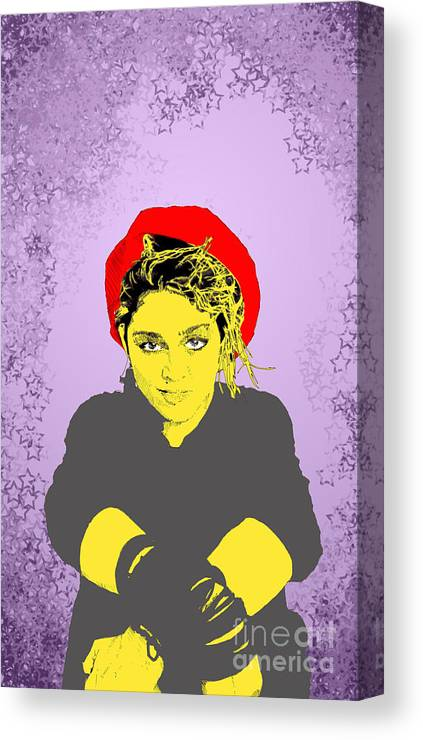 Madona Canvas Print featuring the digital art Madonna On Purple by Jason Tricktop Matthews