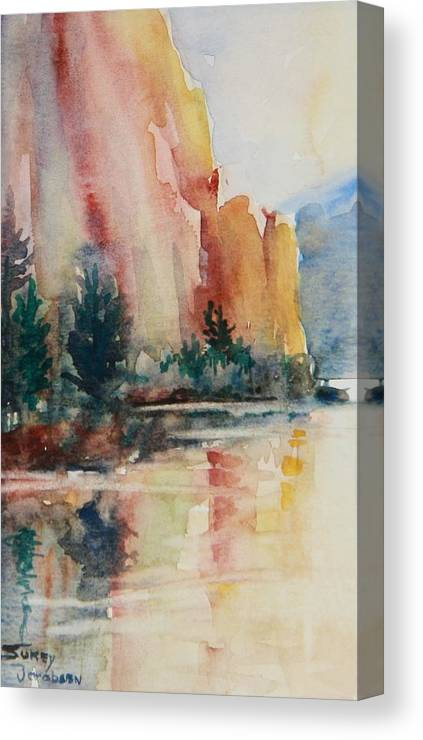Canvas Print featuring the painting Smith Rock Morning 1 by Sukey Watson