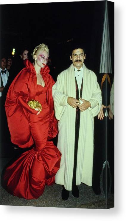Costume Institute Canvas Print featuring the photograph The Met Set Valerie Arnoff And Larry Legaspi by Tony Palmieri
