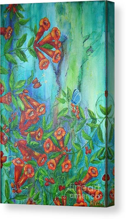 Trumpet Canvas Print featuring the painting Trumpet Vine With Butterfly by Sheri Hubbard