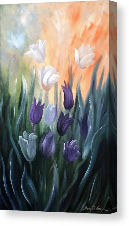 Tulip Canvas Print featuring the painting Tulips by Gina De Gorna