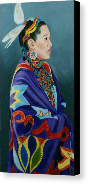 Native American Canvas Print featuring the painting Beauty by Jill Ciccone Pike