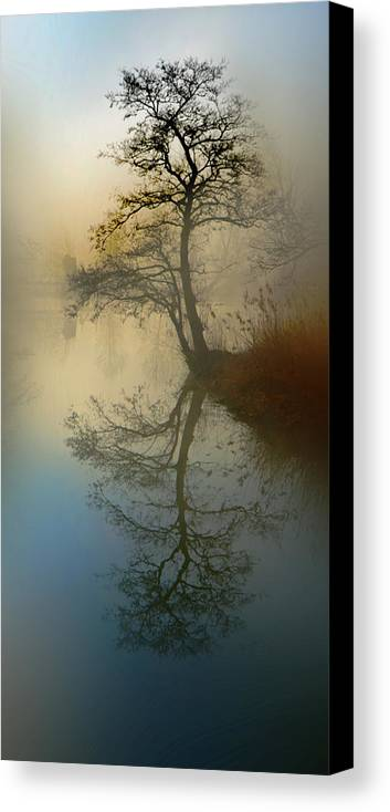 Silence Canvas Print featuring the pyrography Early Morning by manhART