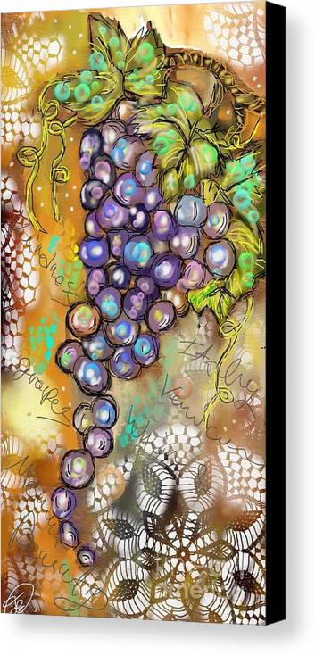 Grapes Canvas Print featuring the digital art Grapes In The Vineyard by Terri Allbright