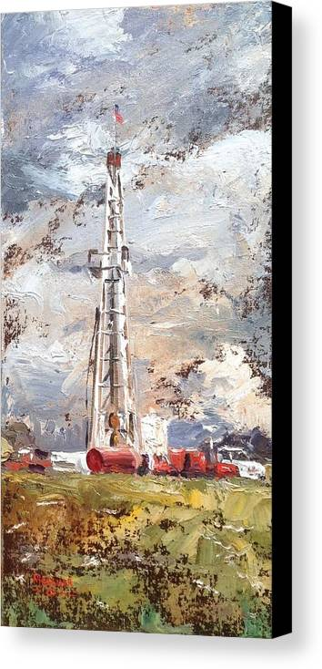Oil Canvas Print featuring the painting Wayne County Rig by Spencer Meagher