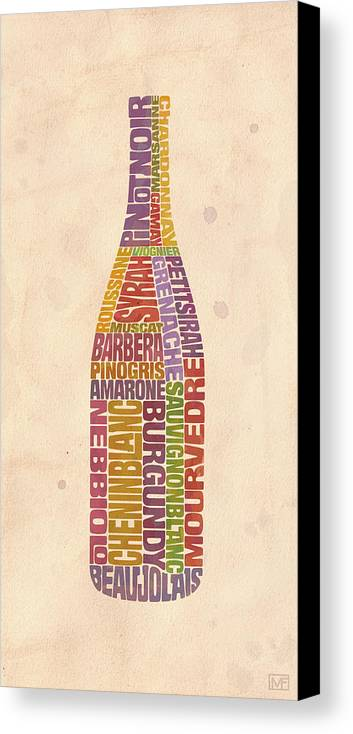 Wine Canvas Print featuring the painting Burgundy Wine Word Bottle by Mitch Frey