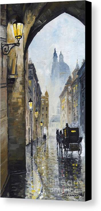 Prague Canvas Print featuring the painting Prague Old Street 01 by Yuriy Shevchuk