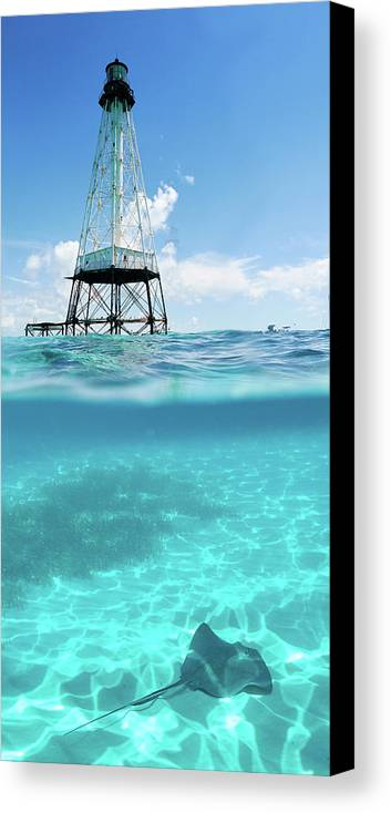 Alligator Reef Canvas Print featuring the photograph Alligator Reef Lighthouse by Robert Stein