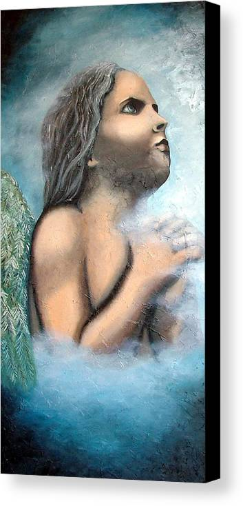 Angel Canvas Print featuring the painting Angel Of Faith by Elizabeth Lisy Figueroa