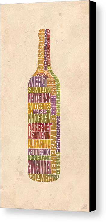 Wine Canvas Print featuring the painting Bordeaux Wine Word Bottle by Mitch Frey