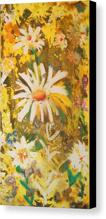 Floral Abstract Canvas Print featuring the painting Daisies In The Wind Vii by Henny Dagenais