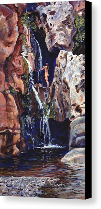 Landscape Canvas Print featuring the painting Elves Chasm by Page Holland