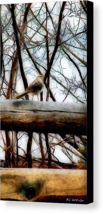 Sparrow Canvas Print featuring the painting Fat Sparrow Fat Fence by RC DeWinter