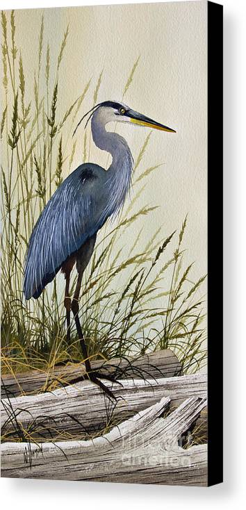Great Blue Heron Canvas Print featuring the painting Great Blue Heron Splendor by James Williamson